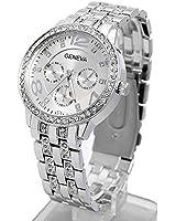 Contever® Lady Geneva Quartz Watch - Fashion Women Bling Crystal Analog Wristwatch / Unisex Stainless Steel Wrist Watch - Silver