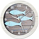 GAOHL Reloj de escritorio con reloj de alarma de peces madera vintage