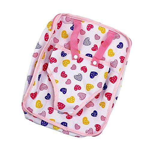 Muster Puppe 18 Zoll (Homyl Puppen Rucksack Tasche mit Herz Muster für 18 Zoll Mädchen Puppe)