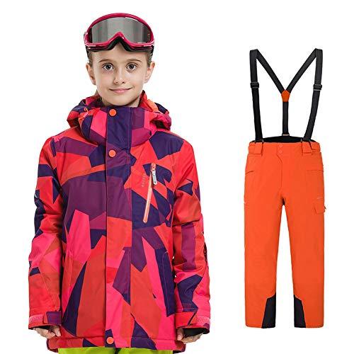 LPATTERN Traje de Esquí para Niños/Niñas Traje Conjunto de Nieve Impermeable para Deportes de Invierno, Rojo+Naranja, 120/5-6 años