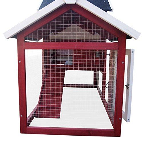 Hühnerstall Geflügel-Stall Hühnerhaus Hühner-Farm Hasenstall Kaninchenstall Kaninchen-Käfig Hasen-Käfig Kleintier-Stall Freilauf Kleintierkäfig Hühner-Stall 147x52x85cm - 5