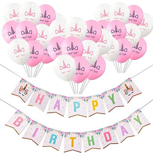 TOPWINRR Einhorn Luftballons Geburtstag Party Milchsaft Dekorationen Zubehör Rose Weiß (Packung mit 41 Stücke)