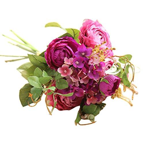 YWLINK KüNstliche GefäLschte Blumen Land Lotus Floral Hochzeitsstrauß Party Home Cafe Esstisch Decor