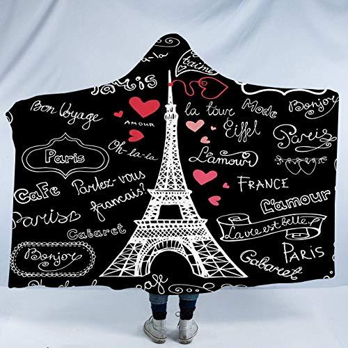 Manta de Franela Torre Eiffel París Francia Pizarra Negra Francesa Manta con...
