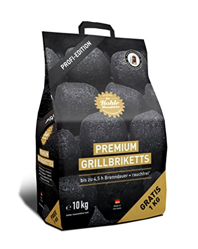 1x 10�kg Kohle Manufaktur Premium Barbecue Briquettes Smoke-Free*, up to 4.5�Hours Burn Time, Barbecue Briquettes Charcoal Briquette Made in Germany by Gartenwelt Riegelsberger
