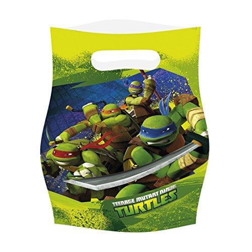 Amakando Sachets à Motif Anniversaire d'enfant 6 Sacs-Cadeaux Tortues Ninja Sacs de fête Petits Sacs Plastiques Ninja Turtles Sacs à Offrir présent Pochette Cadeau fête garçon