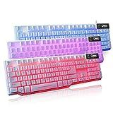 Cywulin 3Colorful Atmen Hintergrundbeleuchtungen Gaming USB Wired Mechanische Tastatur für PC, Mac, Computer, Laptop Weiß Weiß