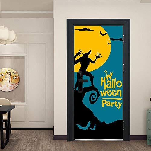 �rsticker Türen Aufkleber 3D Halloween Werwolf. 77X200CM Poster abstrakte Cartoon Anime Selbstklebende Schlafzimmer Wasserdichte visuelle Heim Bad Wohnzimmer Tapete Wandbild ()