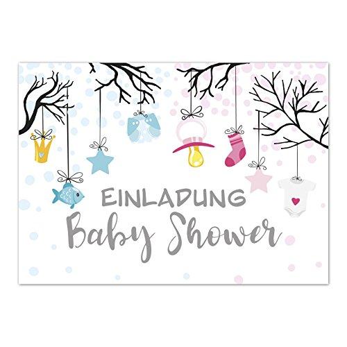 8 x Einladung Baby Shower Party/Einladungskarten mit Umschlag im Set/Motiv: Niedliche Illustrationen Geschlecht unbekannt/Zwillinge/Babyparty Karte/Postkarte/
