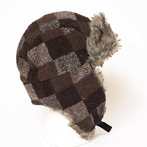 Bonnet de trappeur aviateur fausse fourrure style Russe Marron