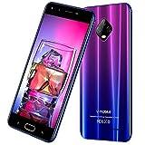4G Moviles Libres Baratos V mobile J7 ofertas Del Dia 5.5'' HD Smartphone Baratos Libres 32GB ROM 3GB RAM Dual Cámar 8MP 5MP Batería 5800mAh Android 7 Quad Core Face ID Dual SIM (Gradiente Morado)