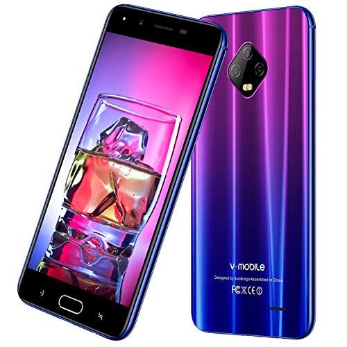 4G Cellulariofferte V mobile J7 5.5'' HD Smartphone Offerta Del Giorno 32GB ROM 3GB RAM Face ID Batteria 5800mAh Android 7 Quad Core 1.3GHz Doppia Fotocamera 8MP 5MP Dual SIM WLAN (Sfumatura Viola)