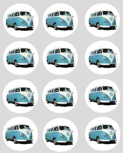Preisvergleich Produktbild 12 VW Campingbus blau Reispapier Märchen / Törtchen 40mm Toppers vorgestanzt Dekoration