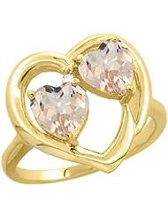 14ct de oro amarillo y diamante dos-piedra anillo en forma de corazón de 6 colgantes Natural, Tamaños J - T