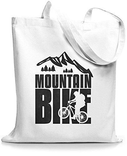 StyloBags Jutebeutel / Tasche Mountain Bike black Weiß
