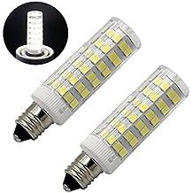 Reusious E11 Bombilla LED 5W, 60W 120v / 130v Bombillas halógenas Equivalente Mini Candelabros jd E11 Base T3 / T4 Bombilla LED, Iluminación interior-2 paquetes (Luz diurna 6000K)
