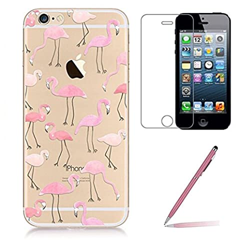 iPhone SE Case iPhone 5 5s Silicone Case [with Tempered Glass Screen Protector], Yoowei® Crystal Clear Soft Gel TPU Case Cute Cartoon Flamingos Pattern Protective Cover for iPhone SE/5/5s - Coccodrillo Dente