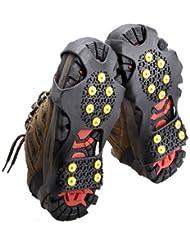 Suelo de Hielo Nieve Crampones Antideslizante Patinaje Antideslizante con Raquetas de Nieve Zapatillas con Clavos Apretones Tacos (M)
