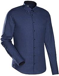 JACQUES BRITT Smart Casual Hemd Slim Fit Langarm Bügelleicht Karo Casual-Hemd Button-Down-Kragen Manschette weitenverstellbar