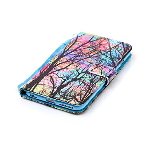 Cover iPhone 6 Plus ISAKEN Drawing Pattern Design Elegante borsa Custodia in Pelle PU per iPhone 6S Plus Sintetica Rigida Case Cover Protettiva Flip Portafoglio Case Cover Protezione Caso con Supporto albero colorate