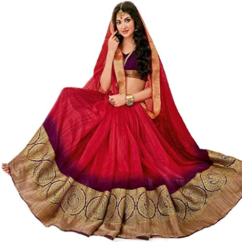 Rajguru Raw Silk Saree With Blouse Piece (RSP-3020-saundarya_Bright red to purple Ombre_Free Size)