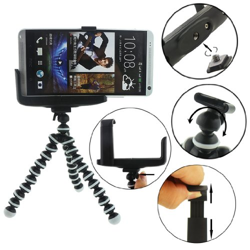 Ancerson Verstellbare abnehmbare bewegliche flexible Gorillapod Stativ-Halterung Multifunktionshalterung für Smartphones Handys Digital Kamera Samsung Galaxy S4 / S5 / S3 / S2 / Grand 2 / Note 2 N7100 / N9000 Note 3 / Mega 6.3 i9200 / Mega 5,8 I9152, Galaxy I8262d / I9268, HTC Sensation XE G18, Galaxy Ace2, Lg Nexus 4 5, Lg G2 / G Pro 2 / F70 LG / LG Optimus G Pro E980 F240 E986 F240k, HTC X920e (Schmetterling), Nokia Lumia 1020 1520, Sony Xperia L36h / L39h / Z1 S / M2 / Z2 /Z3/ E1, Motorola Moto G, Blackberry Z10 / Z30, HTC One M7 / X / Max / M8, Huawei Ascend P6 / Etc G6 (Schwarz)