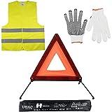 Kits d'urgence pour Auto, LIHAO Triangles de Signalisation, Gilets de Sécurité, Gants pour Auto