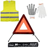 LIHAO Kits de Emergencia - Triángulo reflectante, Chaleco reflectante y Guantes