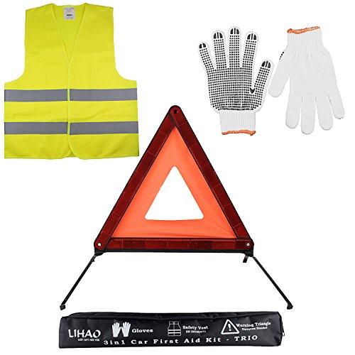 LIHAO Erste Hilfe Set Auto 3in1 KFZ Kombitasche Pannenwerkzeugset Warnweste, Warndreieck, Handschuhe