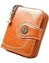 Vintage Leather Cera de petróleo Corta de Las Mujeres Carteras Pequeños Lindo Monedero Tarjeta Monedero del