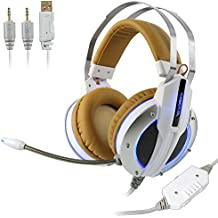 Xiberia X11 Deep Bass Headphones With Mic & LED For PC, PS4, Xbox One, Laptop, PC, IPhone And Android Phones (White)