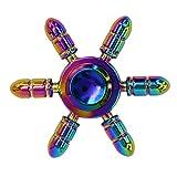 CRAZYCHIC Hand Spinner - Tri Fidget Toupie Métal Multicolore Etoile 6 Branches - Jeu Jouet Adulte Enfant Anti Stress