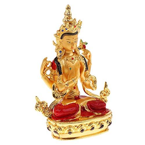 MagiDeal Avalokitesvara Golden Sitzende Buddha Figur Dekofigur Feng Shui Dekoration für Haus oder Büro