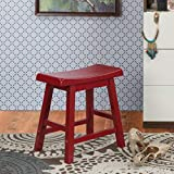 Home Centre Malcolm Solid Wood Stool - Maroon