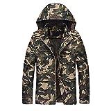 Winterjacke Herren,Dasongff Camouflage Männer Windbreaker Hoodie Kapuzenpullover Warm Winter Outdoor Kapuzenmantel Zip-up Outwear