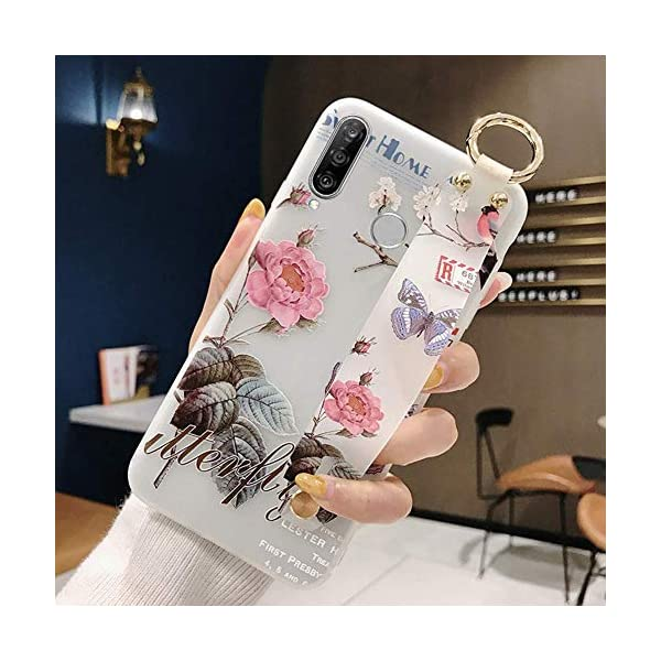 Uposao Compatible with Huawei P30 Lite Case with Hand Strap, Cute Pink Flowers Pattern Design Soft Silicone TPU Gel Flexible Cover with Wrist Strap Wristband Kickstand,Flower #5 Uposao Compatible Model: Huawei P30 Lite Package:1 x Bumper Case Cover,1 x Black Stylus Touch Pen Kickstand Feature: Comes with slidable elastic strap for your ring finger or wrist for comfortable grip and a built-in kickstand for optimum hands-free viewing. 1