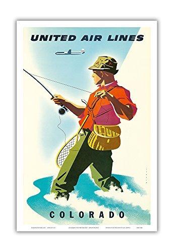 Pacifica Island Art Colorado-United Air Lines-Fischer, Fliegenfischen-Vintage Airline Travel Poster von Joseph Binder c.1950s-Master Kunstdruck 12