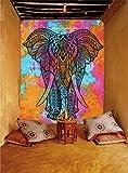 Indischer Wandteppich Mandala Batik Farben, Boho Wandbehang Psychedelic,Indisch Mehrfarbige Hippie Wandtucher Bohemian,vorhänge Tischdecke,Baumwolle strandtuch überwurf Weihnachten Geschenk (MULTI ELEPHANT)