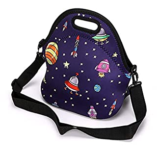 IGNPION Print Neoprene Lunch Tote Bag Lunch Boxes Carry Bag Lunch Bag with Shoulder Strap for Children Adult (Astronaut)