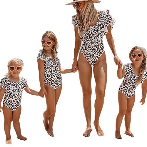 Bañador Madre e Hija Traje de Baño para Mujers Niñas Ruffle Bikini de Una Pieza de Leopardo Familiar...