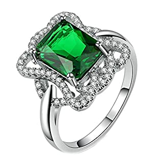 Purmy Women Ring White Gold Plated Green Cubic Zirconia Square Zirconia Flower Design Size N 1/2