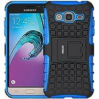 Coque Galaxy J3 (2016), Fetrim Armor Support Protection Étui,anti chocs Bumper Étui Hybride protection Housse Cover pour Samsung Galaxy J3 (2016) (bleu)