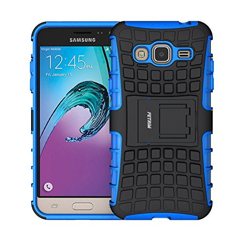 Galleria fotografica Custodia Galaxy J3 (2016) ,Fetrim Cover , Protettiva Stand Case,Shock-Absorption Bumper Rugged Armor super protettiva Case per Samsung Galaxy J3 (2016) (Blu)