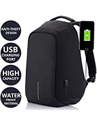 AllExtreme Anti theft Backpack Business Laptop Bag with USB Charging Port Waterproof Camping Organizer Bag Anti-theft Bagpack (Black)