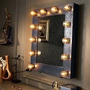 The broadway faux leather navy blue illuminated hollywood for Miroir lumineux ikea