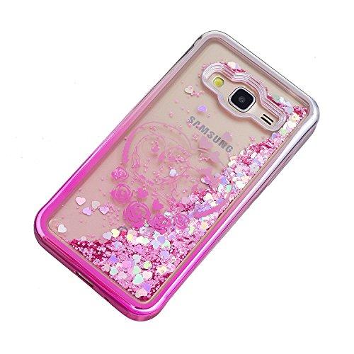 Hülle Galaxy J3 2016 (5,0 Zoll) Hülle Transparent Hardcase,3D Galvanotechnik TPU Kreative Liquid Bling Hülle Case Für Samsung Galaxy J3 (2016) J320 (5,0 Zoll),Dynamisch Treibsand Flüssige Fließend Was 8