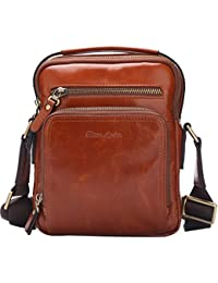 Bison Denim Mens Retro Genuine Leather Soft Cross Body Messenger Bag Satchel Laptop Shoulder Bags Red Brown