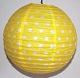 AAF Nommel ® Lampion 1 Stk. Papier, gelb mit weissen Punkten, Asia-Art-Factory, rund Ø 40 cm, Nr. 730