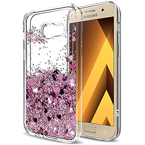 A3 2017 Case,Galaxy A3 2017 Liquid Case with HD Screen Protector for Girls Women,LeYi Cute Shiny Glitter Moving Quicksand Clear TPU Protective Phone Case for Samsung Galaxy A3 2017 ZX Rose Gold