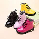 Daclay Children Ankle Boots for Little Middle Age Boy and Girl Lace-up Patent Leather Waterproof Fashion All-Matching Martin Boots